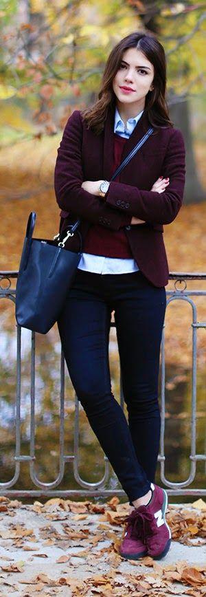 Burgundy Fall Outfit Ideas by Maritsanbul (LACOSTE AW14 Denim – Yeni Sezon  GANT AW14 Shirt / Gömlek – Yeni Sezon  NAUTICA Knitwear / Triko -Yeni Sezon  GANT AW14 Blazer -Yeni Sezon  NEW BALANCE Sneakers – Superstep.com  LACOSTE AW14 Bag / Çanta – Yeni Sezon  GUESS Watch / Saat)-  Classic. Casual
