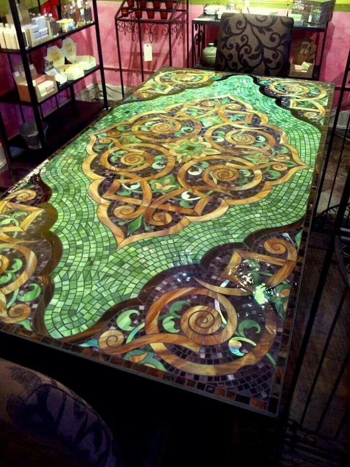 Fabulous Green And Gold Tile And Glass Mosaic Table