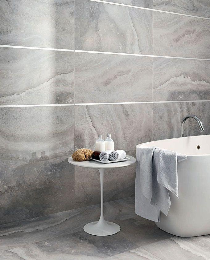 Laying Tile Floor In Bathroom: Amalfi Grigio Looks Just Like Silver Travertine Stone But