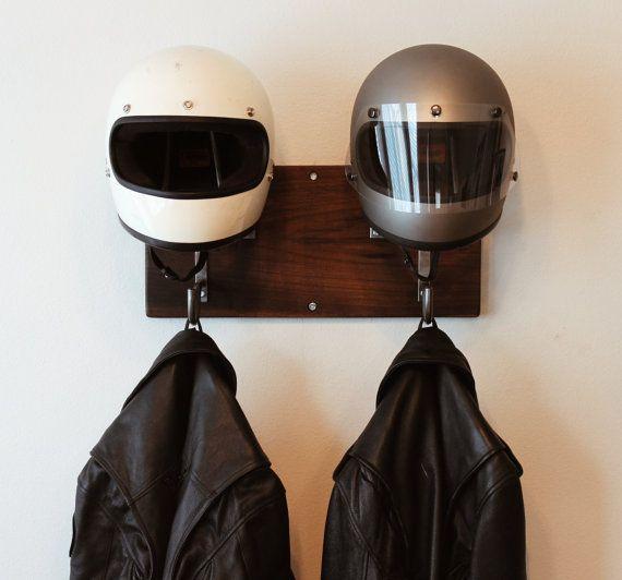 Casco motocicleta doble y gancho de chaqueta hecho a mano
