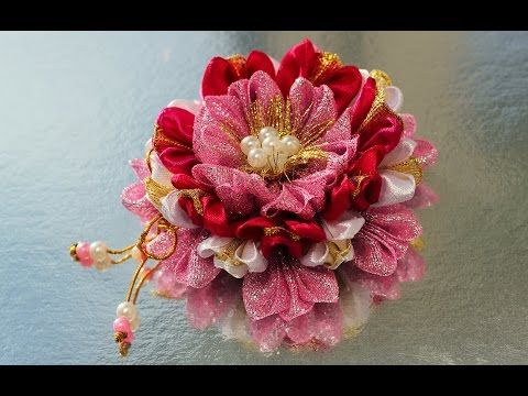 Бантик - цветок для принцесс, мастер класс, канзаши из лент / DIY Ribbon Flower Kanzashi - YouTube