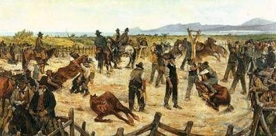 Marcatura dei cavalli in Maremma (1887) di Giovanni Fattori #arte