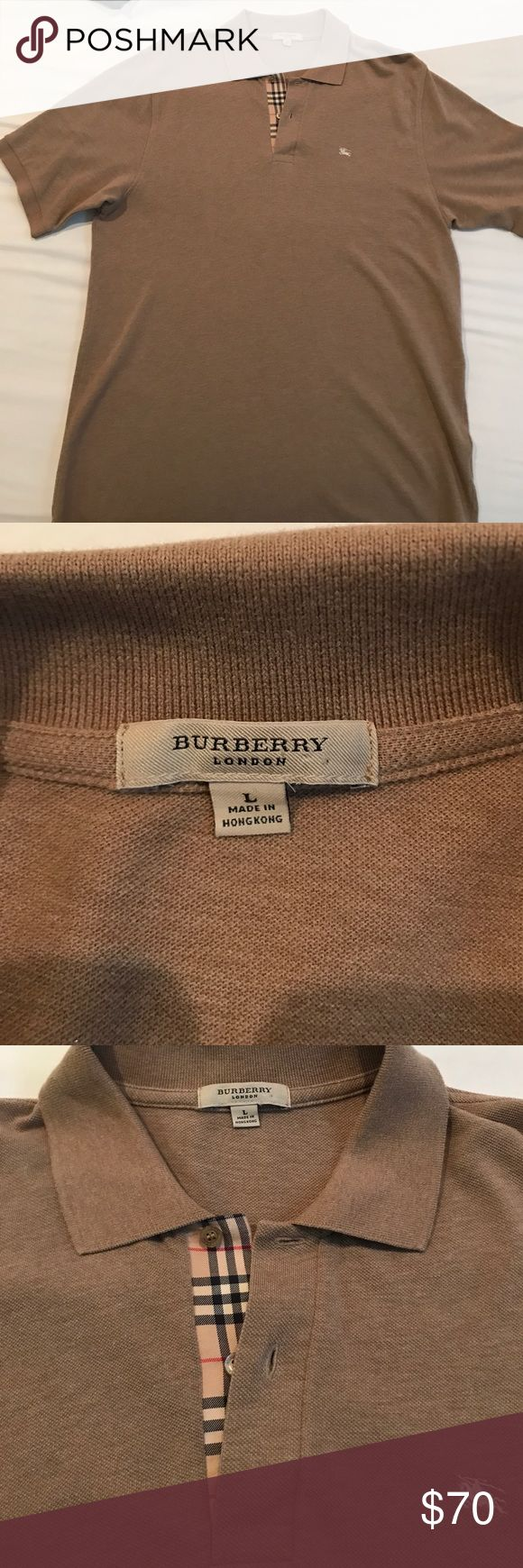 Men Burberry polo shirt 💯 authentic Burberry Polo shirt for men size Large . Worn 2 times. Smoke and pet free environment. Shirt has only been to the cleaners. Shirts Polos