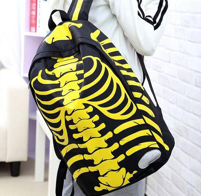 2015 продажи мода рюкзаки человеческий скелет личности рюкзаки свободного покроя мужская рюкзак тенденция дорожная сумка водонепроницаемый мешок dh243