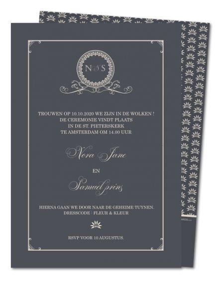 Antraciete monogram (PRV-478) - de perfecte trouwkaart voor een klassieke bruiloft, compleet met jullie eigen monogram.