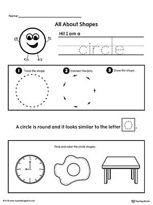 Learn all about the circle shape in this math printable worksheet. Practice tracing, drawing, and coloring pictures of circle shapes.