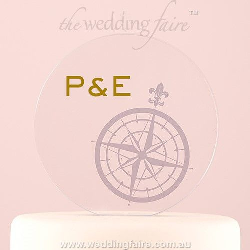 Vintage Travel Engraved Personalised Round Acrylic Block Cake Topper - Compass - The Wedding Faire