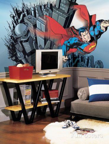 Superman Chair Rail Prepasted Mural 6' x 10.5' Wall Mural