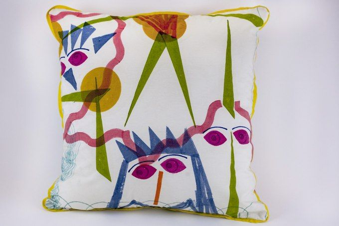 Woodblock Kandinsky 2 by Jain&Kriz. A striking and playful accent for the bedroom, kids' or living room. 100% cotton.