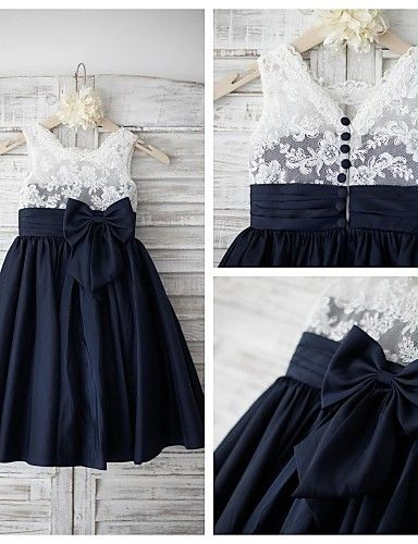2017 Cute Girl With Dark Blue Kids Beautiful Ball Gown Flower Girls Dresses For Party and Weddings 2017 Girls Formal Gowns Bow