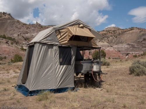 Off road camping trailer with ARB rooftop tent