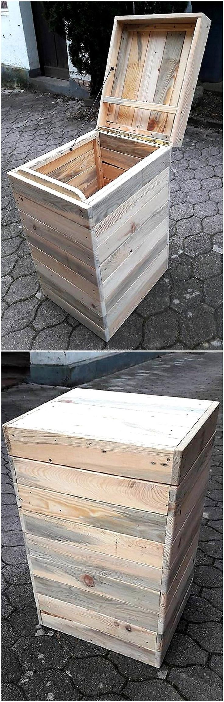 It is better to make something to store the items, which don't occupy much space and here is an idea of creating a long trunk. As many trunks can be created as required according to the items that need to be stored, the trunk made up of pallets is strong and can keep the items safe.