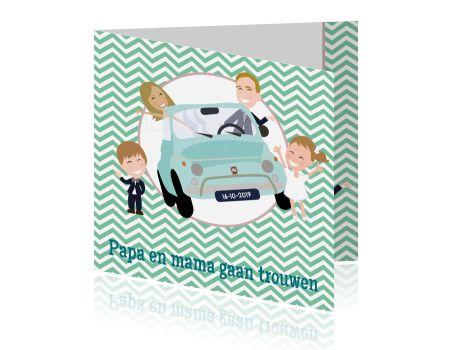 Trouwkaart groene chevron fiat 500 en eigen cartoons. #trouwkaarten #trouwen #trouwkaarten