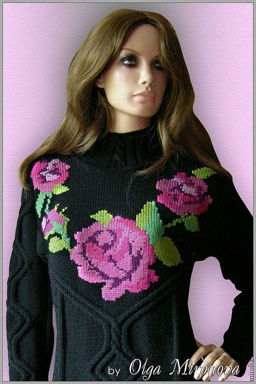 """Купить Платье """"Parfum rose"""" - черный, рисунок, розы, платье, платье с розами, вязаное платье"""