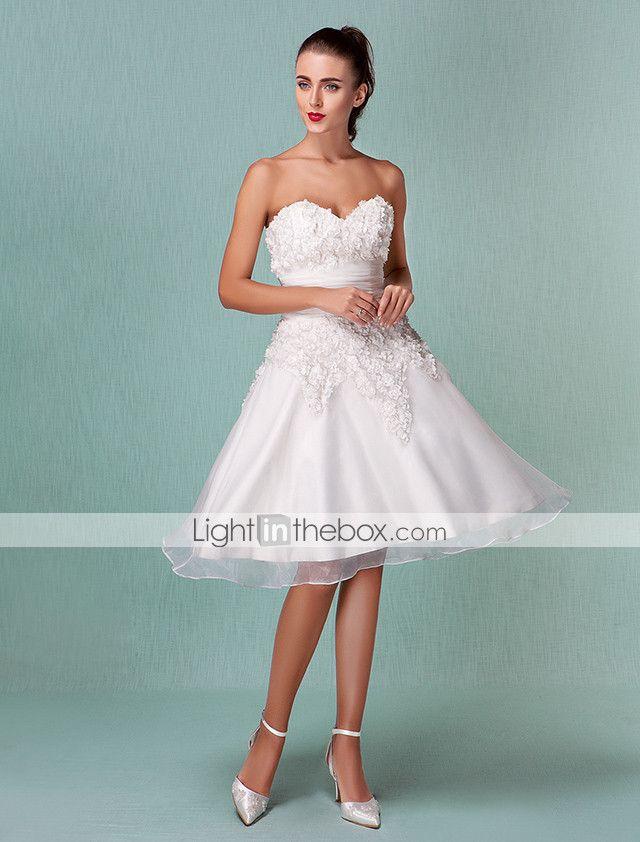 Lanting Bride® A-Linie / Prinzessin Extraklein / Übergrößen Hochzeitskleid - Schick & Modern / Hochzeitsempfang Schlichte Brautkleider 172461 2017 – €87.29