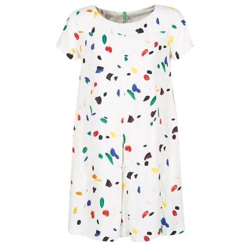 textil Mujer vestidos cortos Benetton JEMOSA Blanco / Multicolor