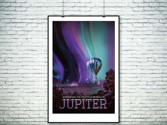 NASA travel to Jupiter poster.Jupiter's aurora the by PasteUpStore