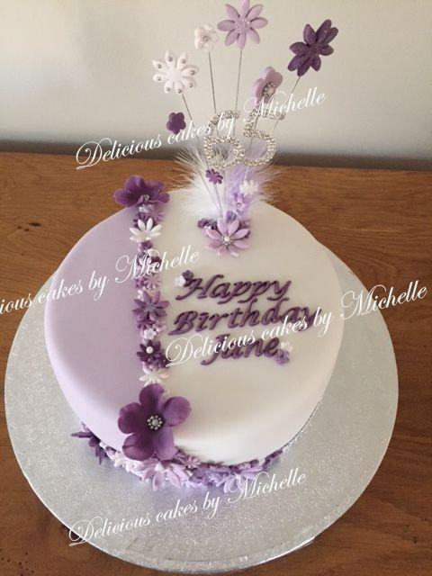 Purple flower 65th birthday cake