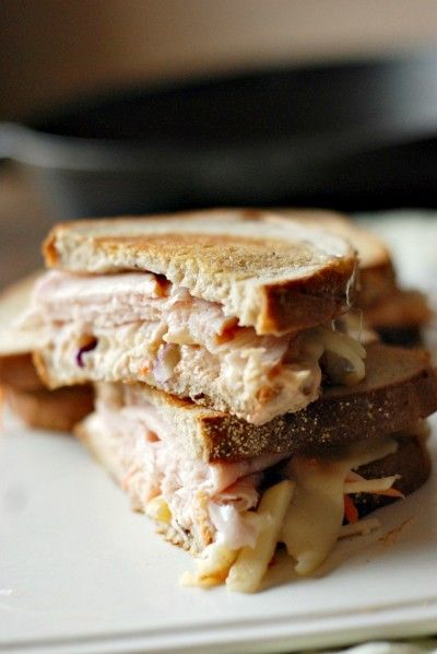 """The Rachel Sandwich - """"Rueben's sweeter cousin.""""  Turkey, Havarti, and a sweet & sour apple slaw on toasted bread.  I will try this with a bread other than rye (maybe sourdough?) and without the horseradish and sriracha."""