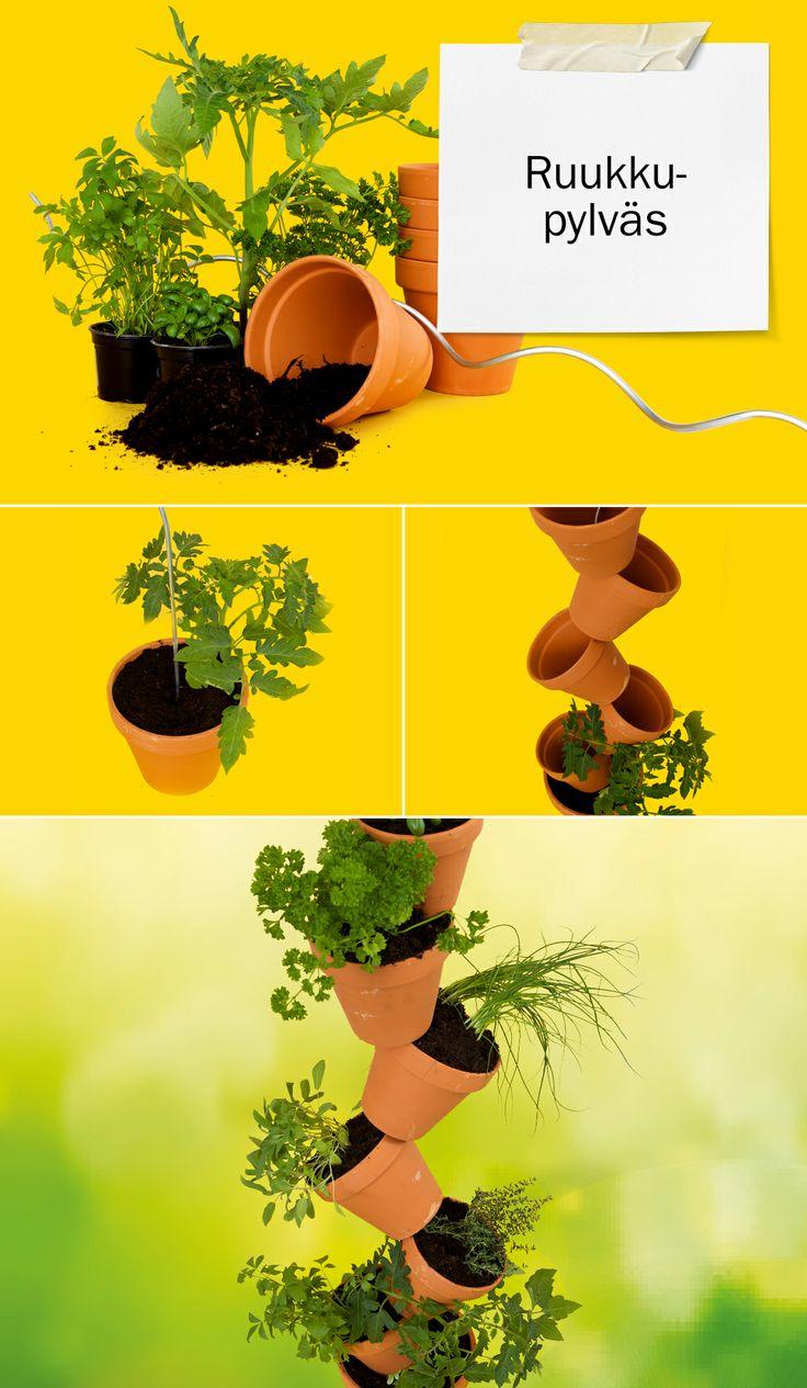 #DIY ruukkupylväs. Kokoa puutarhaasi komea yrttipylväs ruukuista tai piristä pihaasi erikoisella kukkaistutuksella. Helppo ja yksinkertainen vinkki! Lisää ideoita osoitteessa dreambuilder.fi. #ruukut #kasvimaa #ruukkupylväs.    #DIY planter. Easy and simple tip! For more ideas, visit dreambuiler.fi. #planter #garden