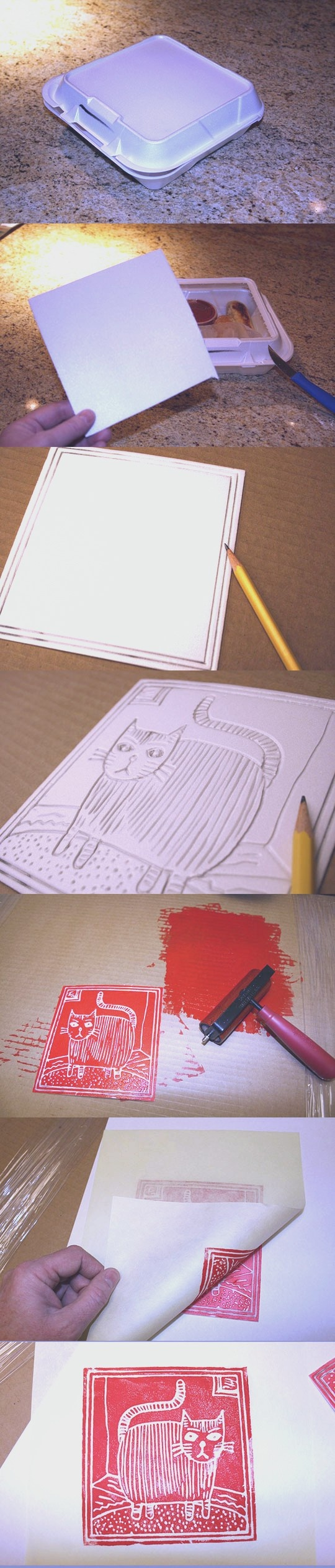 foam stamps - this would be great to artificially tile a wall with images, or for false linoleum