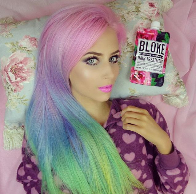 Amy the Mermaid keeps her beautiful rainbow hair hydrated and healthy with the Bloke Hair Mask Repair and Hydrate Treatment. Get yours at VanityPlanet.com