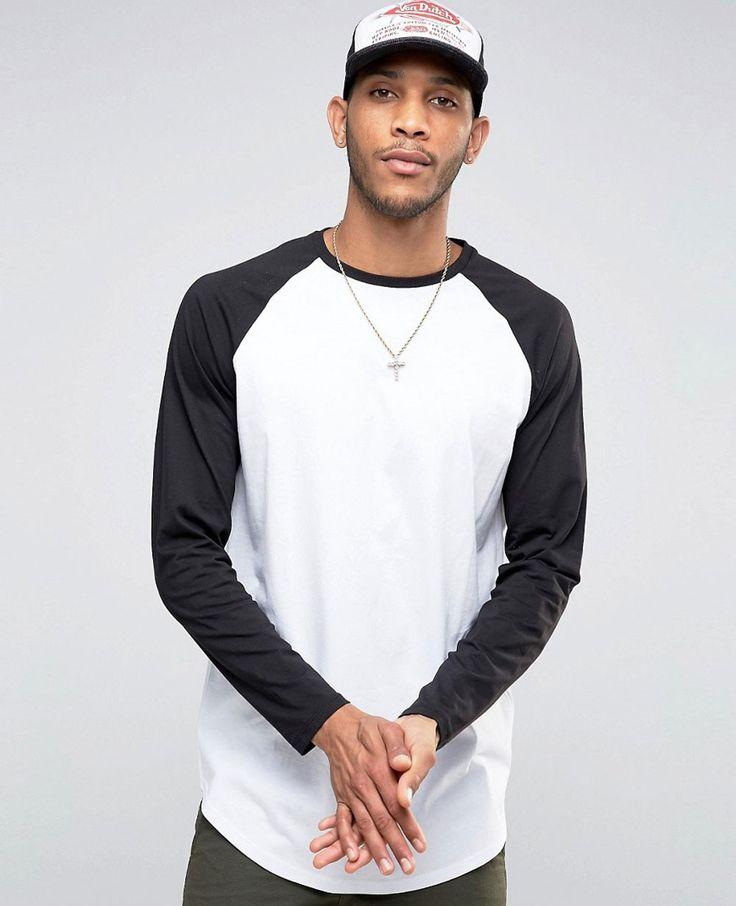 longline long sleeve t-shirt with contrast raglan and curve hem