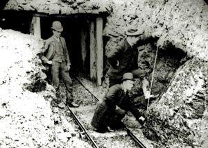 Photo: James Stirling inspecting black coal mine, Korumburra, 1895