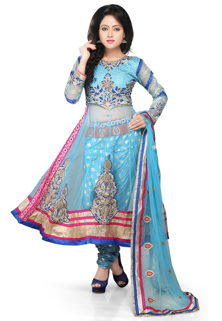 Embroidered Anarkali Style Net Suit In Sky Blue