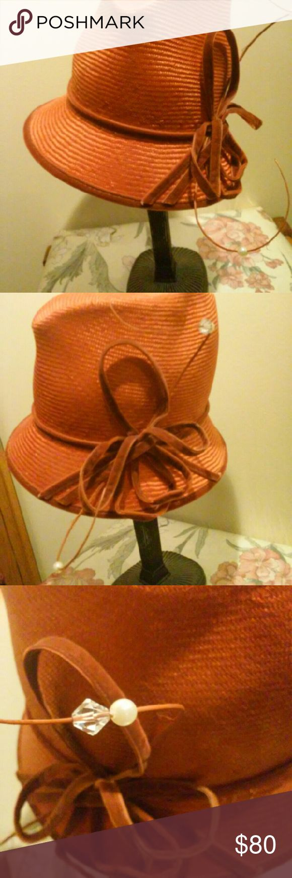 Orange Fedora Hat Ladies,,You are looking at a Beautiful Orange hat with velvet trim...Its Accent with  Velvet bow tie topped with Pearl and Stone.You can wear this hat ALL YEAR ROUND.,...:Worn Once performing at a Hat Show at a Convention***REASONABLE OFFERS ACCEPTED!!! Accessories Hats