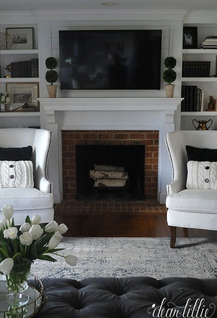 Our New Fireplace Mantel and Full Before and After Shots of our Family Room and Breakfast Area - Dear Lillie Studio
