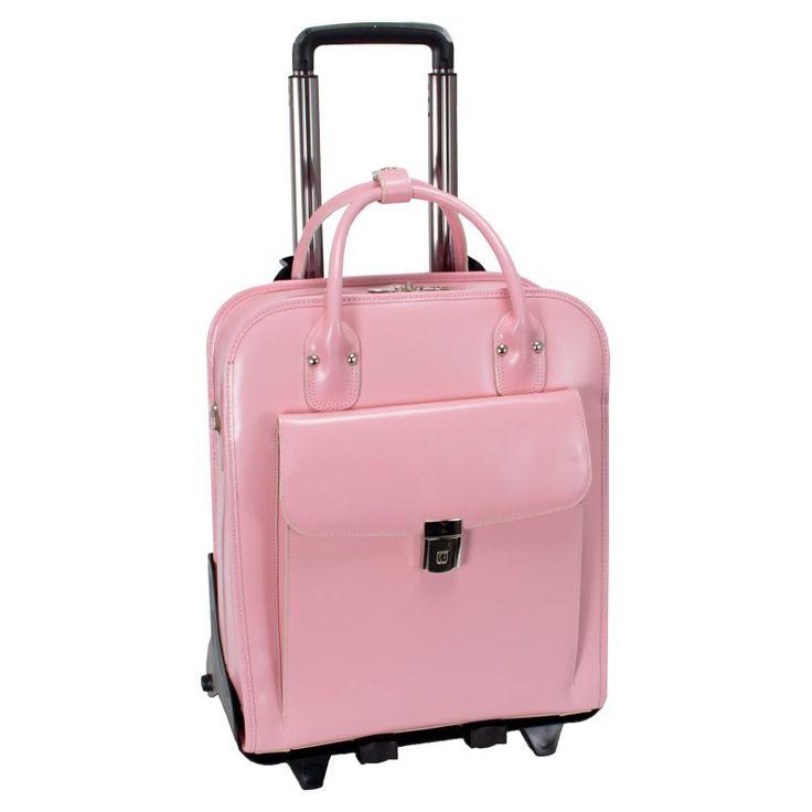McKlein USA La Grange Leather Vertical Detachable Wheeled Ladies Briefcase Pink