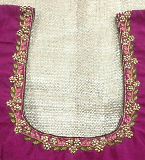 Pattu blouse with pearl work 91 9866583602 whatsapp no 7702919644