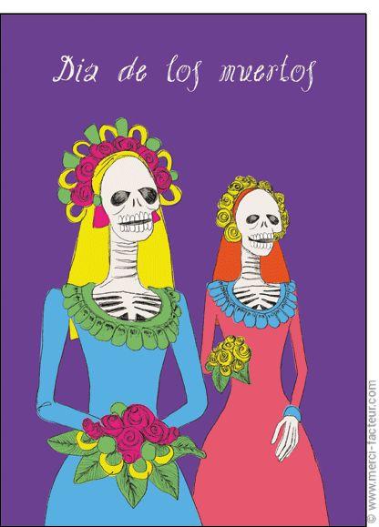 #carte #dessin #photo #squelette #fleurs #toussaint #bouquet #card #calavera #skull #flowers #drawing #allsaints Carte Dia de los muertos pour envoyer par La Poste, sur Merci-Facteur !