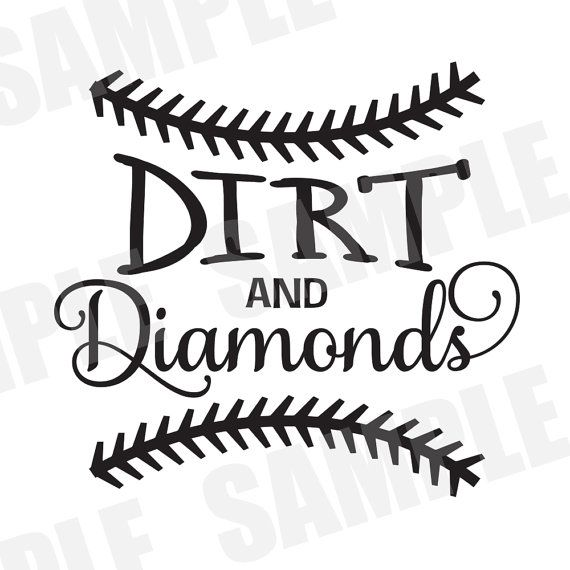 ****DIGITAL DOWNLOAD***** SVG DXF file for Silhouette Cameo. Dirt and Diamonds, softball cut file, baseball svg file