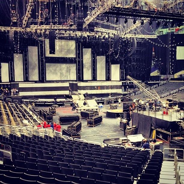The 55th GRAMMYs stage being taken down. #GRAMMYs #behindthescenes