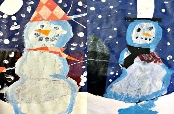 Inspired by the book Snowmen at Night, first graders created a tissue paper background and added a mixed-media snowman. A great winter art and craft project for kids.