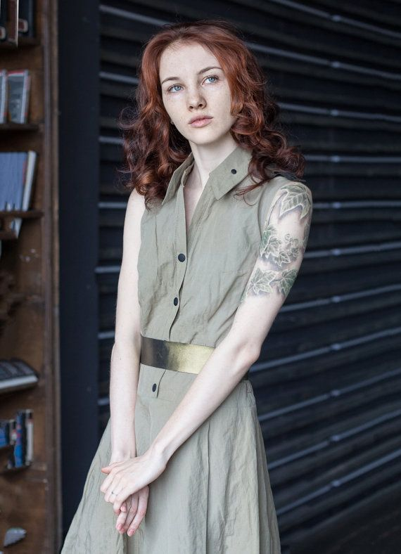 Safari Sport dress / Party Khaki Dress / by ExlibrisClothing