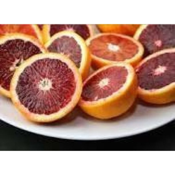 Popular for centuries in Spain and Italy , blood oranges are now being cultivated in the United States . Look for blood oranges in speciality supermarkets from November through May .  Blood oranges are somewhat smaller than navel oranges , and often have pitted skin mottled with hints of red ; the interior flesh is deep crimson . The flavor is sweeter and less tart than other oranges , and may have hints of raspberry or a slightly bitter .  To know more about the juice , please PM / sms…