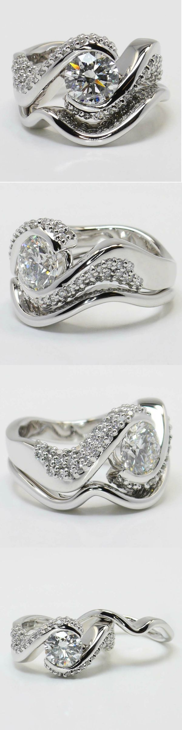 Twisted Diamond Engagement Ring and Matching Band in White Gold! Round 1.61 Ctw. Color: F Clarity: SI1 Cut: Excellent Diamond/Gem Cost: $14,736 Side Carat: 0.93 Side Color: G-H Side Clarity: VS2 Width: Side Cut | Ideal Setting Cost: $4,100 Total Cost: $18,836 www.brilliance.com