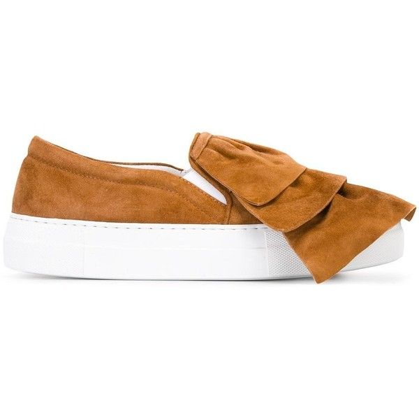 Joshua Sanders bow slip-on sneakers ($341) via Polyvore featuring shoes, sneakers, brown, leather shoes, leather sneakers, slip-on sneakers, bow shoes and slip-on shoes