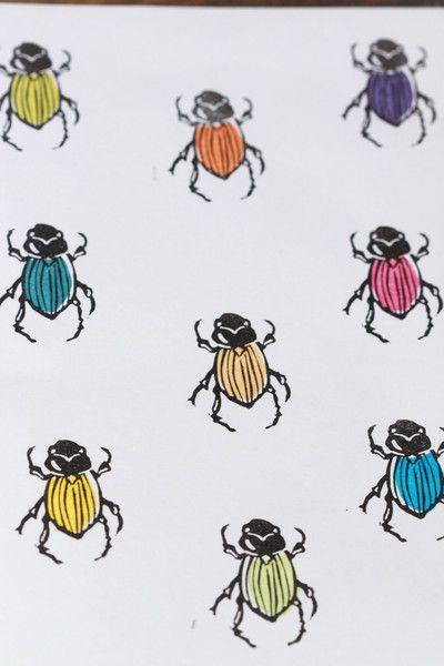 Carved rubber Stamp  Stempelset - Käfer, Skarabäus , Stempel - Set, handgeschnitzt - ein Designerstück von Aure-und-En bei DaWanda