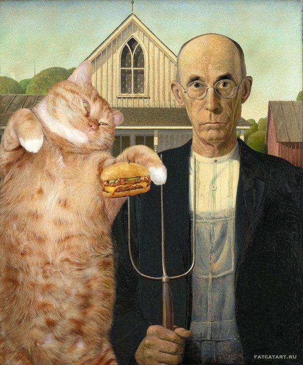 Gótico Americano de Grant Wood. | 17 obras de arte clásicas mejoradas por un gato gordo pelirrojo