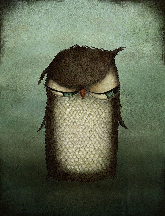 """Mrs Owl - stampa di illustrazione (formato 7 """"x 5"""")"""