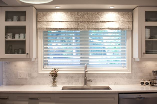 valance over the wood blinds - looks great!