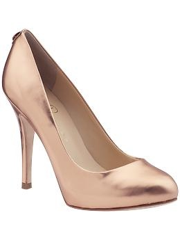 Rose gold leather pumps. Would go with anything. Great colour for pale-skinned girls like me.