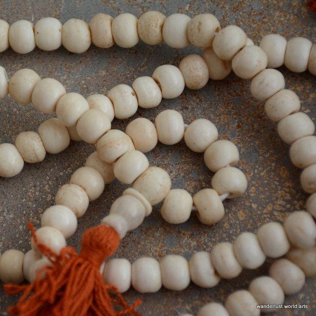 9mm Natural Bone Bead Mala,108 Bone Beads,Tibetan Prayer Mala,Buddhist Prayer Beads,108 beads with Guru Bead, Counter, 0ne Piece, LUM14-9 by WanderlustWorldArts on Etsy