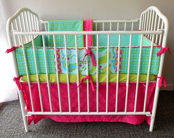 blue birds and pink dots portable crib bedding by portacrib beddingset