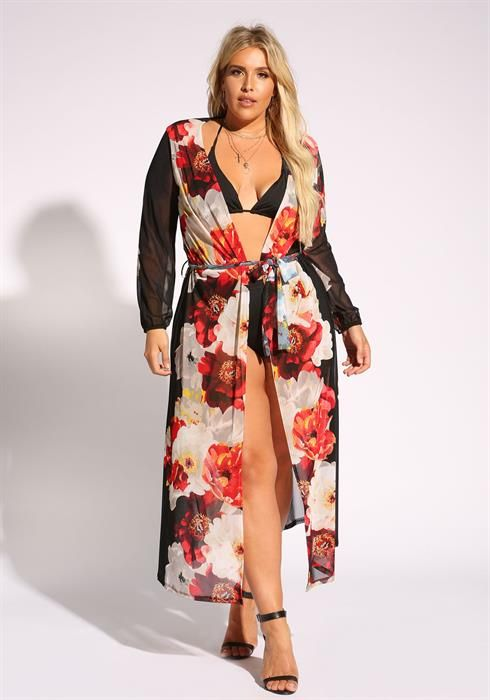 cb322885250 Plus Size Floral Mesh Cover Up Maxi Cardigan