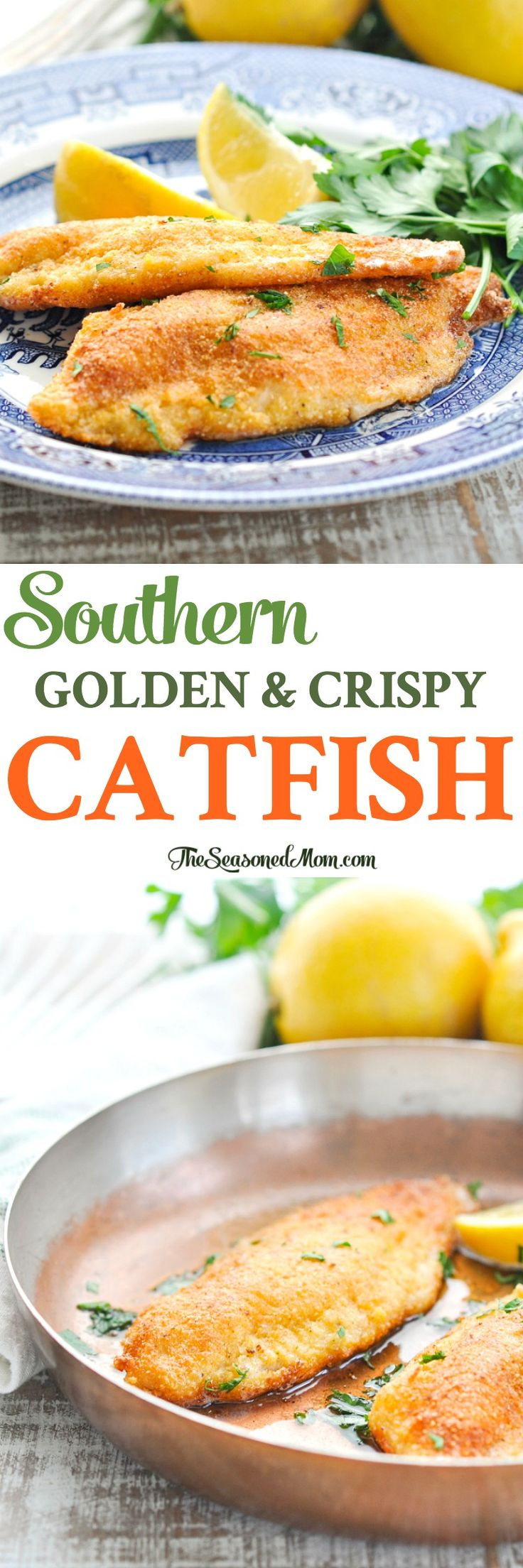 Simple is usually best, and this Southern Fried Catfish is no exception. The easy dinner recipe only requires a handful of pantry staples and it's ready in less than 20 minutes!!! #fish #seafood #dinner #TheSeasonedMom Easy Dinner Recipes | Fish Recipes | Seafood Recipes